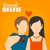 Cartaz romântico de Selfie vetor