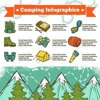 Esboço de Infographics de acampamento vetor