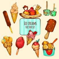 Esboço de sorvete colorido vetor