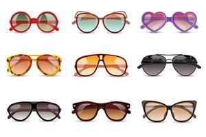 Conjunto realista de óculos de sol vetor