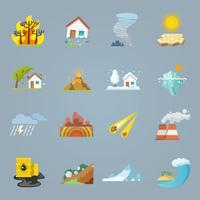 Ícones de desastres naturais planas