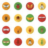 Ícones de insetos planas vetor