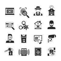 Conjunto de ícones de segurança preto