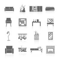 Conjunto de ícones de sala de estar vetor