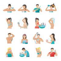 Conjunto de ícones de higiene plana vetor