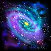 Ícone de fundo preto de galáxia espiral vetor