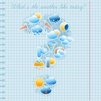 Conceito de previsão de tempo de página de caderno de escola