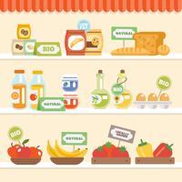 Coleção de comida na prateleira