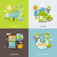 energia ecológica plana vetor