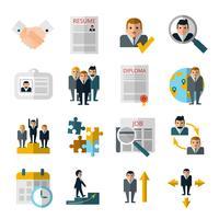 Conjunto de ícones de sombra plana de recursos humanos