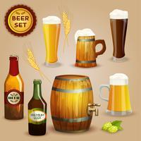 Cartaz de conjunto de composição de ícones de cerveja vetor