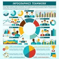 Conjunto de infográficos de trabalho em equipe vetor