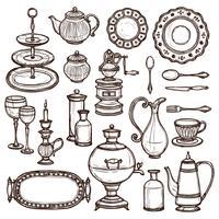 Pratos doodle esboço conjunto de impressão
