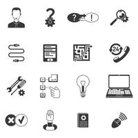 Conjunto de ícones de suporte preto e branco
