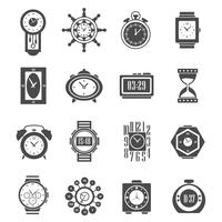 Conjunto de ícones de relógio preto