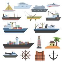 Ícone plano de navio vetor