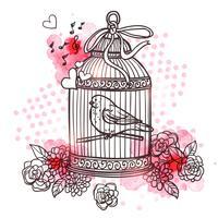 Pássaro na ilustração de gaiola