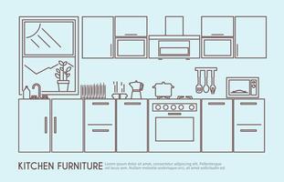 Ilustração de móveis de cozinha vetor