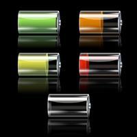 Conjunto de bateria com diferentes níveis de carga vetor