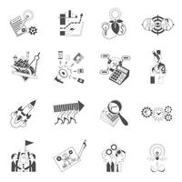 Conjunto de ícones pretos de conceito de trabalho em equipe negócios