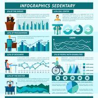 Conjunto de infográficos sedentários vetor