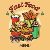 Cartaz de menu de cadeia de fast food