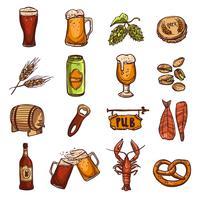 Conjunto de Esboço de Cerveja vetor