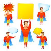 Personagem de desenho animado de super-herói com bolhas do discurso vetor
