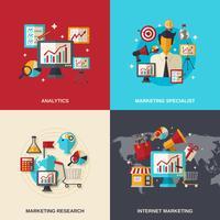 Ícones planas de marketing vetor