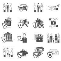 Conjunto de ícones plana de seguros vetor