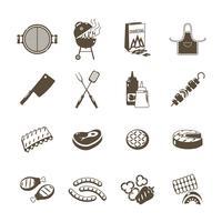 Conjunto de ícones de churrasco e grelhados preto