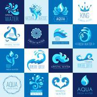 Conjunto de emblemas de água vetor