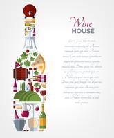 Cartaz de composições de ícones de garrafa de vinho vetor