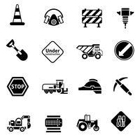 Reparação de estrada ícones preto vetor