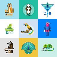 Conjunto de logotipo do jardim zoológico vetor