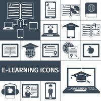 Conjunto de ícones pretos de e-learning vetor