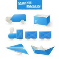 Conjunto logístico de origami vetor