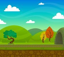 Ilustração de paisagem ferroviária