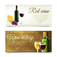 Banners de vinho com queijo vetor