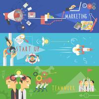 Conjunto de banners planas de marketing de negócios vetor