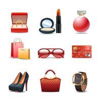 Conjunto de ícones de compras de mulheres vetor