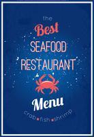 Menu de restaurante de frutos do mar
