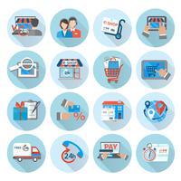 Compras E-commerce Icon Flat vetor