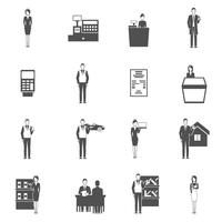 Conjunto de ícones de vendedor vetor