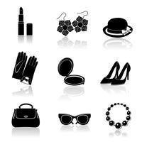 Conjunto de ícones pretos de acessórios de mulher