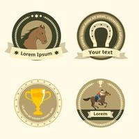 Passeios a cavalo emblemas e etiquetas planas