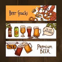 Banners horizontais de cerveja vetor