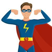 Menino, em, superhero, traje vetor
