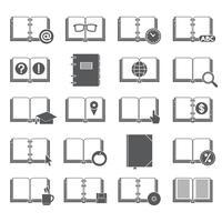 Conjunto de ícones de livros e símbolos