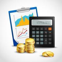 Calculadora e moedas de ouro